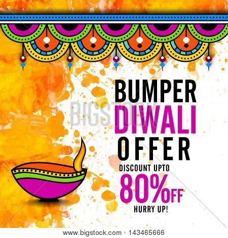 Bumper Diwali Offer Poster, Biggest Sale Flyer, Bumper Dhamaka Banner, Discount Upto 80% Off, Vector Illustration with creative Lit Lamp.