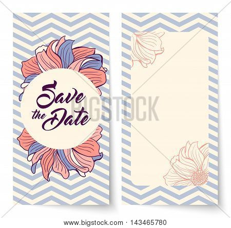 Save the Date card with background chevron pattern and flowers. Round frame for text. Save the Date lettering. Wedding invitation vector illustration. Lavender and coral colors.