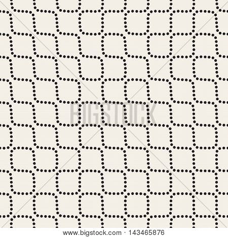 Vector Seamless Black and White Dotted Wavy Lines Pattern. Abstract Geomertic Background Design