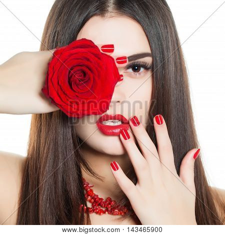 Fashion Beauty. Manicure and Make-up. Beautiful Woman. Face and Hand