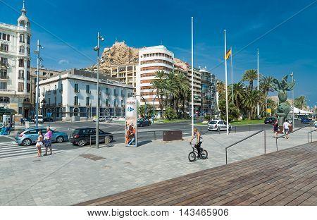 Alicante, Spain - SEPTEMBER 2015: Square 'Plaza Puerta del Mar' at summer day