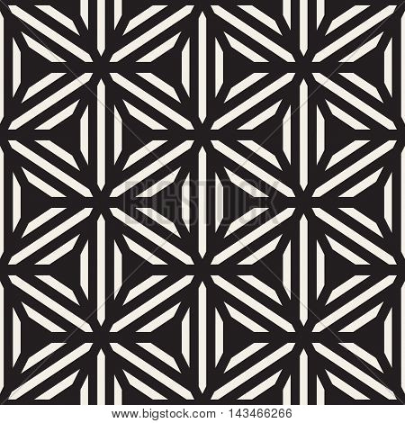 Vector Seamless Black and White Star Line Grid Geometric Pattern. Abstract Geomertic Background Design