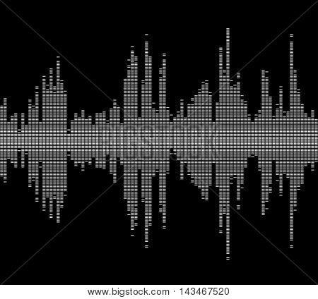 Black music sound waves digital equalizer, musical pulse drawed by dots