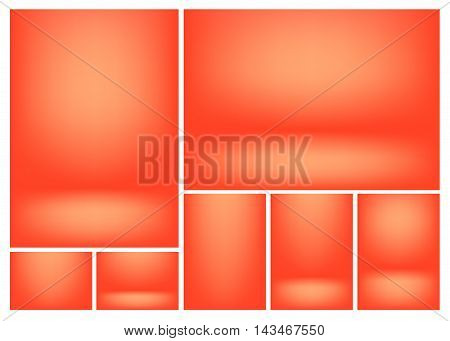 Bright Red gradients for creative project backgrounds or product presentation. Vector backdrop set
