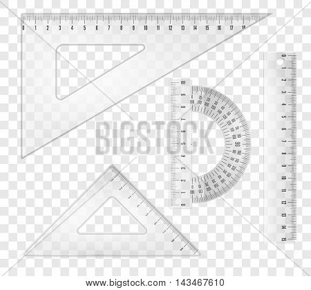 White transparent rulers and triangles set. Vector objects