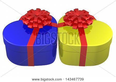 Heart shaped boxes tied ribbon with a bow isolated on white background. 3D rendering.