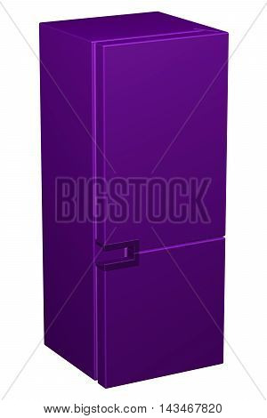 Purple refrigerator isolated on white background. 3D rendering.