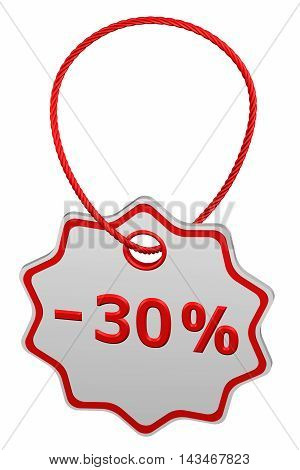 Discount - 30 % tag isolated on white background. 3D rendering.