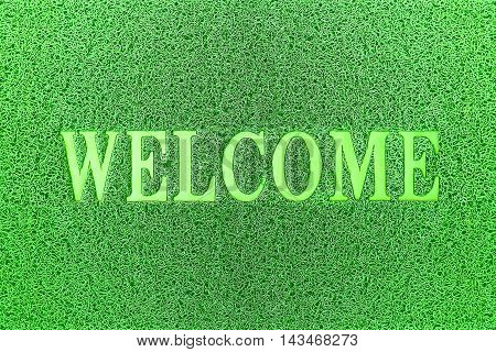 Welcome Green Door Mat. Welcome Carpet Background. Welcome Green Sign.