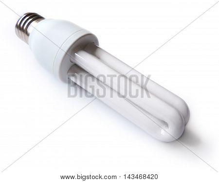 Energy saving lamp or light bulb, isolated on white background.