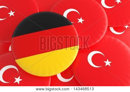 Partnership Germany Turkey: Turkish And German Flag Badges 3d illustration