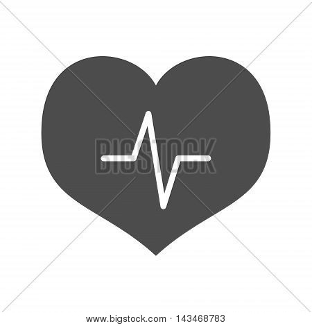 Simple heart with cardiogram icon. Vector illustration. Isolated on white background.