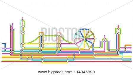 Abstract design of the London skyline in the style of an underground map