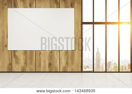 Office lobby with wooden wall and concrete table. City seen through big window. Horizontal poster on wall. Concept of advertising. 3d rendering. Mock up. Toned image.