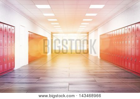 Red lockers in high school corridor. Fitness Gym. Concept of learning and education. 3d rendering. Toned image