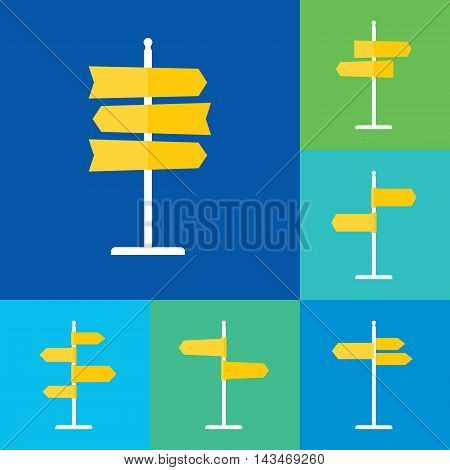 Set of road sign flat icons. Signpost icons in flat style. Blank template for navigational text. EPS8 clean vector illustration.