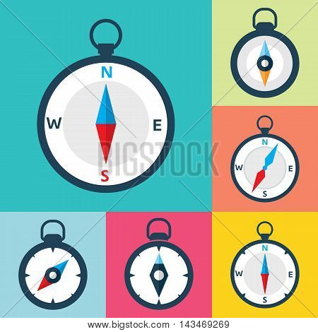 Set of compass flat icons. Vector icons of a navigational compass in flat style. EPS8 clean vector illustration.