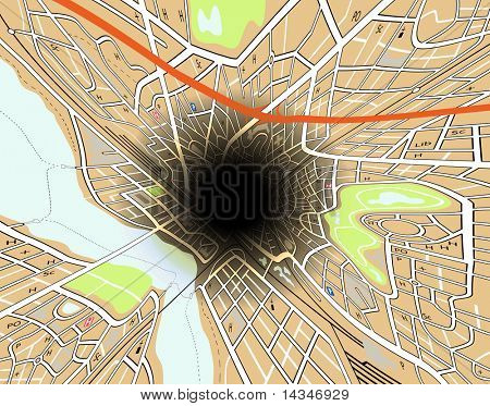 Illustrated map of a generic city getting sucked into a massive hole