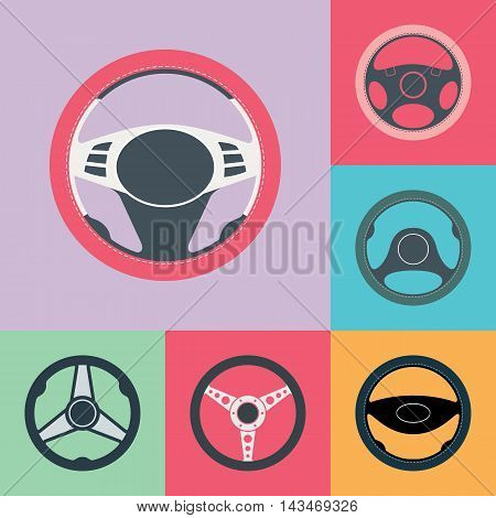 Set of car steering wheel flat icons. Auto steering wheel flat vector icons. Car steering wheel design elements. EPS8 clean vector illustration.