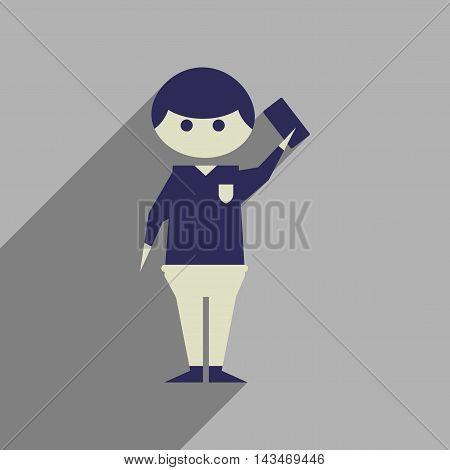 Flat web icon with long  shadow soccer referee