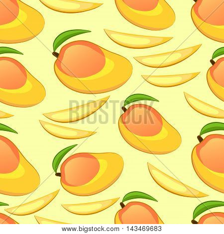 Mango whole and pieces. Cartoon seamless pattern. Vector illustration.