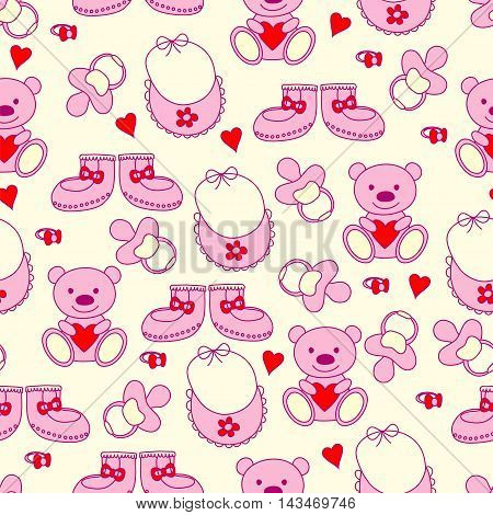 Baby pink seamless pattern. Bears, pacifiers, booties. Vector illustration.