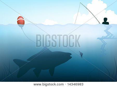 Ilustração em vetor editável de um peixe levar a isca da haste de uma criança
