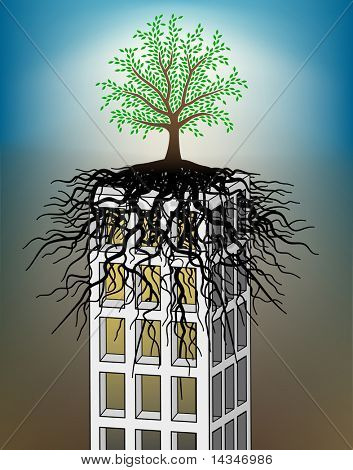 Editable vector illustration of a tree growing on a towerblock