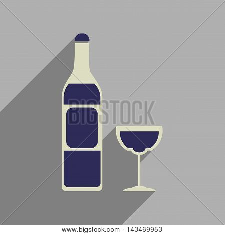 Flat web icon with long  shadow glass of wine bottle