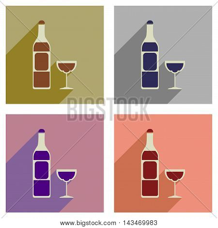 Concept of flat icons with long  shadow glass of wine bottle