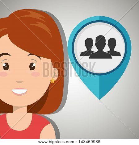 woman pin travel location vector illustration design