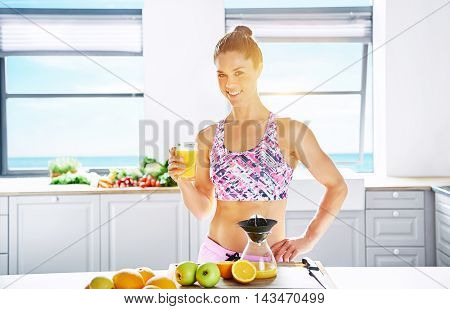 Healthy diet and lifestyle concept with a fit attractive young woman with a lovely smile making fresh juice for assorted organic fruit in a clean bright kitchen with copy space