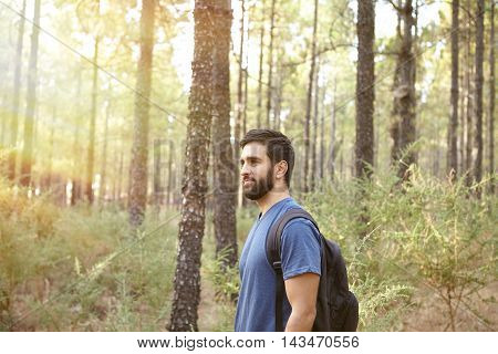 Young Guy Standing In The Forest