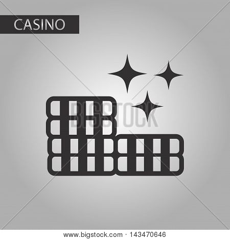 black and white style casino poker chips