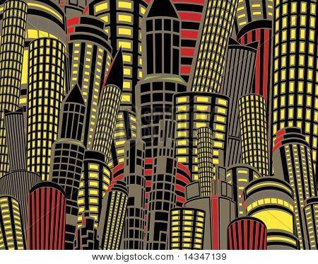 Editable vector illustration of tall city buildings at night