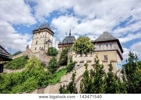 Majestic Karlstejn castle on a hill in the Central Region. The Castle called Charlemagne and was his favorite seat.