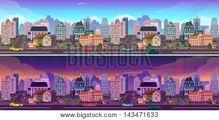 Day and night city Panorama. day and night town background. Cityscape vector illustration.