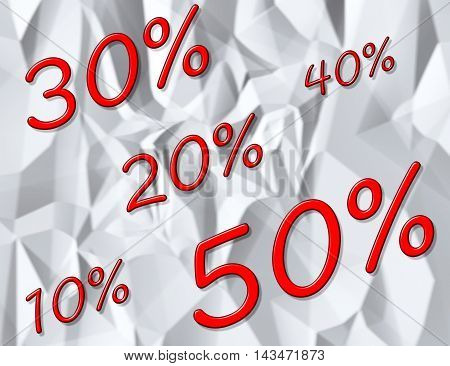 Sale. The discount percentage on the background of crumpled paper