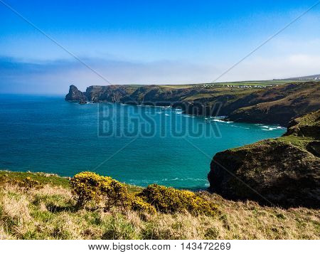 Coastline of northern Cornwall near Tintagel in England