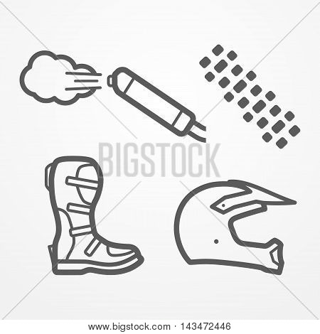 Set of cross and off-road motorcycle parts in line style. Exhaust, tire track, boot and helmet. Motorbike vector stock image.