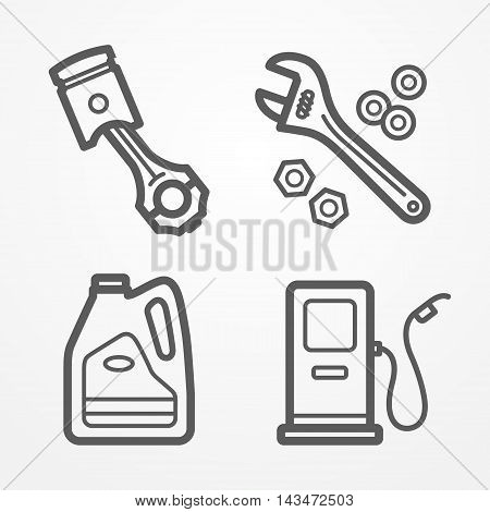 Collection of car or motorcycle service icons in line style. Piston, gas station, motor oil and wrench with nuts. Car store or service vector stock image.