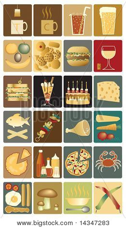 Set of editable vector icons of drinks and snacks