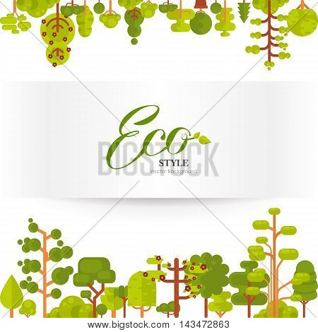 Stock vector illustration of green trees and bushes top and bottom on a white background in a flat style. Banner or strip of paper with lettering for Environmental Design, eco style, ecology