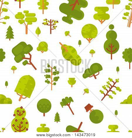 Stock vector illustration seamless pattern with green trees and bushes on a white background in a flat style for Environmental Design, eco style, ecology