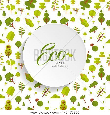 Stock vector illustration seamless pattern with green trees and bushes on white background in flat style with bare circle banner or round sticker of paper for Environmental Design, eco style