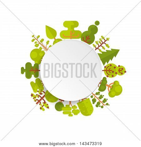 Stock vector illustration of bare circle banner or round sticker with trees and bushes located along the rim on a white background in a flat style for Environmental Design, eco style, ecology