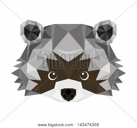 raccoon head low poly isolated icon vector illustration design