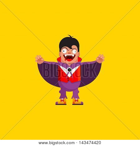 Stock vector illustration a vampire character for halloween in a flat style