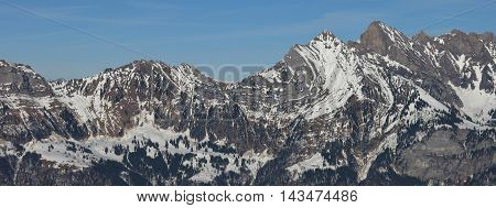 Mountain of the Churfirsten Range. View from Flumserberg.