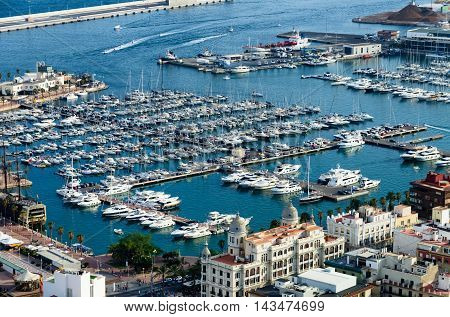 Quay and port of Alicante in summer, Spain